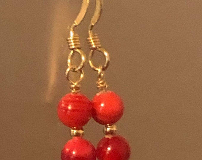 4mm Red coral Natural gemstone earrings on 14kt gold filled earring wires Spiritual healing