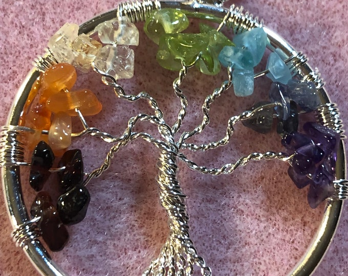 Multiple Gemstone Tree of Life pendant on Sterling Silver Snake Chain