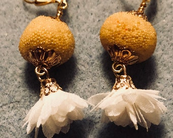Yellow pompom beads with white flower tassels Jesse James Beads
