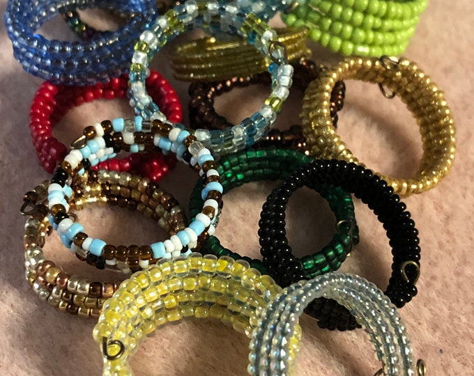 5 band Memory WIre Rings Stackable made with 11/0, 13/0 and 15/0 seed beads adjustable