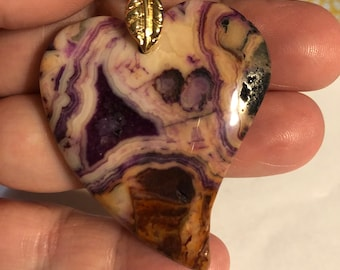 55mm x 47mm Purple Crazy Lace Agate Heart Pendant with gold leaf bail on 17-19in  braided waxed cord in 6 colors