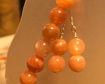 Orange Sunstone Stretch Bracelet and Sterling Silver earring set 8 mm AAA gem quality