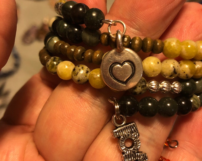 6mm Green Rhyolite Yellow Turquoise/ Serpentine moss agate GP 4 Row layered Memory Wire Silver plate Heart charm and love charm