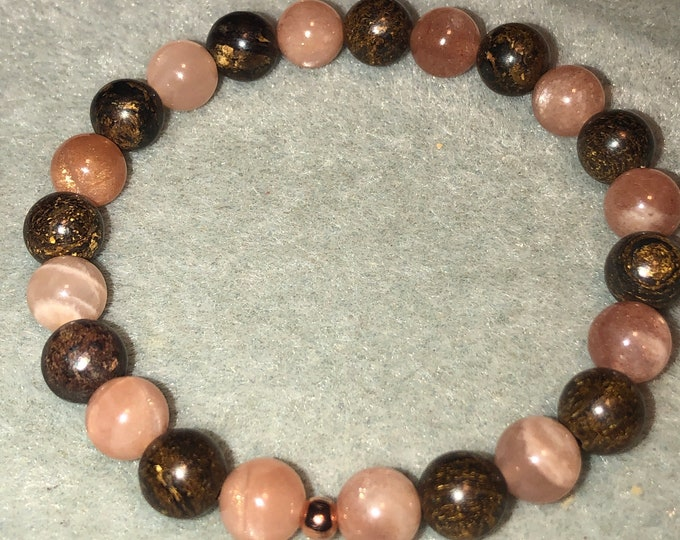 Featured listing image: 8mm Bronzite and Orange Sunstone Gemstone Stretch Bracelet Natural beautiful sparkle and color