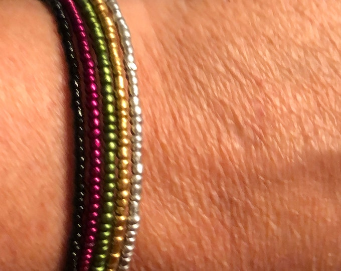 5 band fall color seed bead stackable bracelet Memory Wire adjustable  Unique, One of a kind, Handcrafted