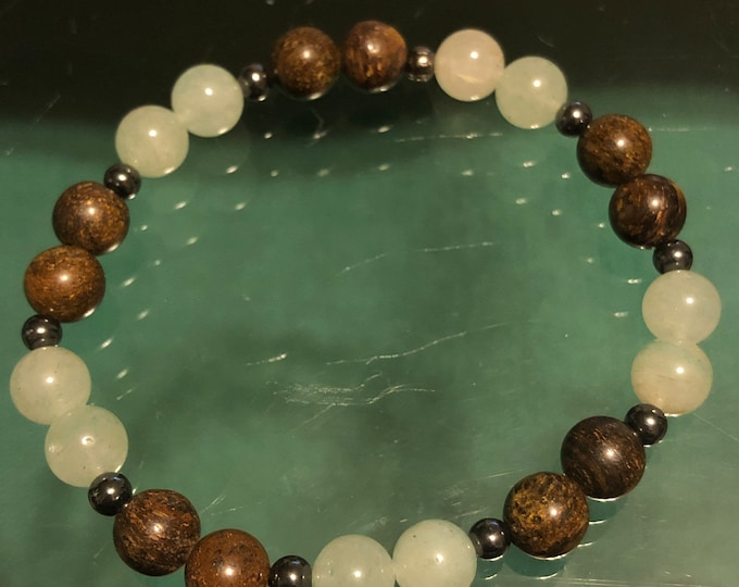 Genuine 8mm Natural Green Aventurine Bronzite Hematite Stretch Bracelet •Self Confidence •Calming •Grounding Men's Women's