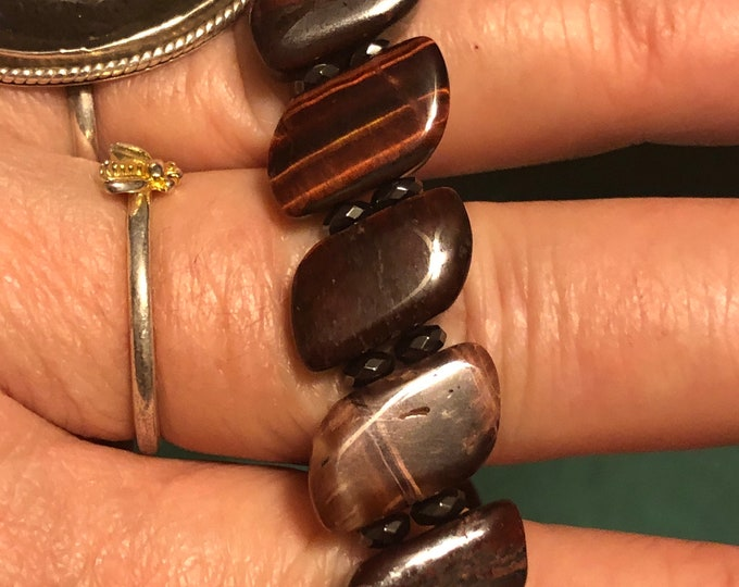 15x9 Two Hole Red Tigers Eye and Faceted Rondelle Hematite Stretch Bracelet Genuine Natural Gemstone Men's Women's Unisex Beautiful
