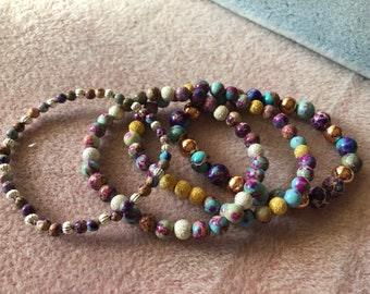 Sea Sediment Jasper 4mm or 6mm rounds Stretch Bracelet with silver, gold or copper spacer made to order Gorgeous beads