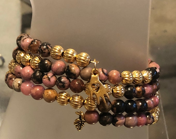 6mm Haitian Flower Rhodonite •Heart in Hand• Charity • Helping hands• 4 row Gold plated Stainless steel non-tarnish Memory Wire Handcrafted