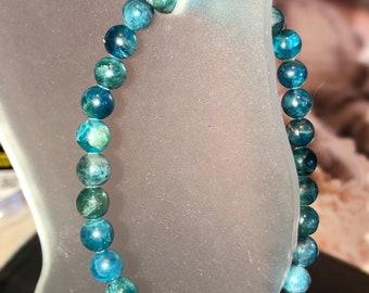 6mm  AA Apatite Genuine Natural Gemstone Stretch Bracelet beautiful Healing • Creativity • Intellect •