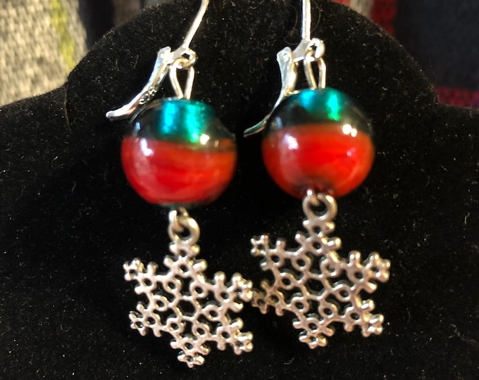 Christmas Ornament Green Red Rounds Earrings with Snowflake Charms on Sterling Silver Leverbacks