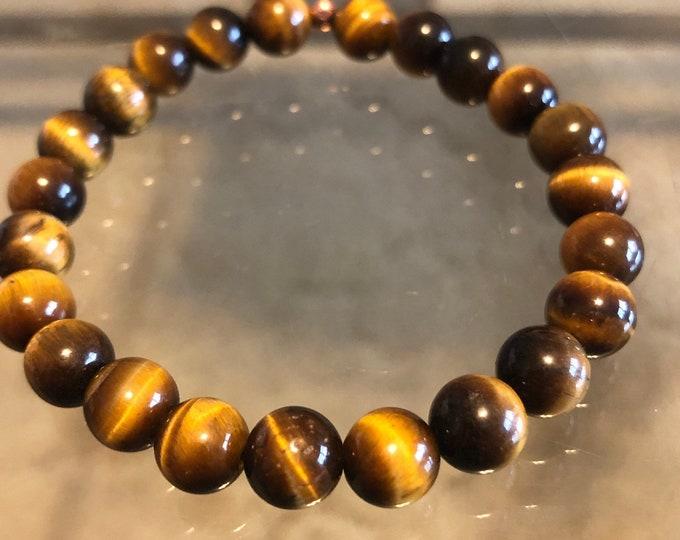 8mm Golden Tigers Eye Beaded Bracelet Men's Women's Healing Protection