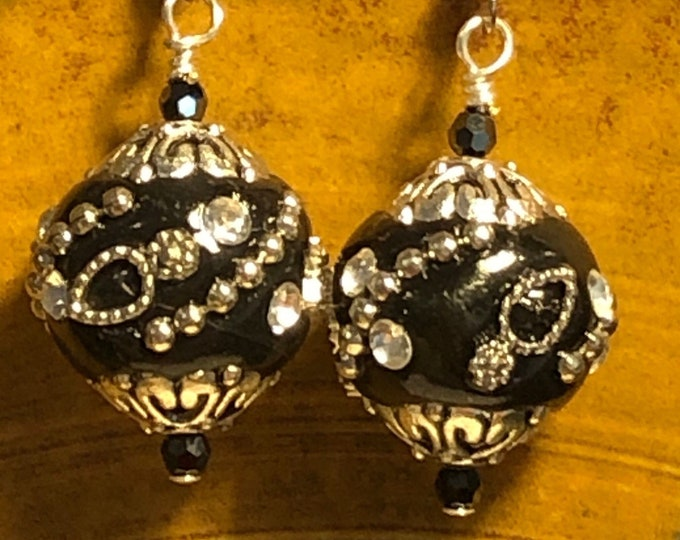 Beautiful Black and silver rhinestone Boho bead and crystal earrings Handmade Jesse James Boho Beads on silver plated earring wires