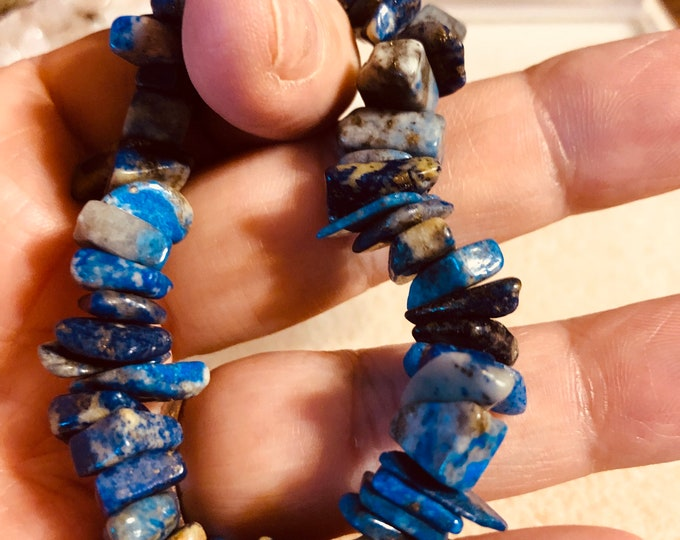 Lapis Lazuli Chip /Nuggets Beaded Stretch Bracelet  made to order