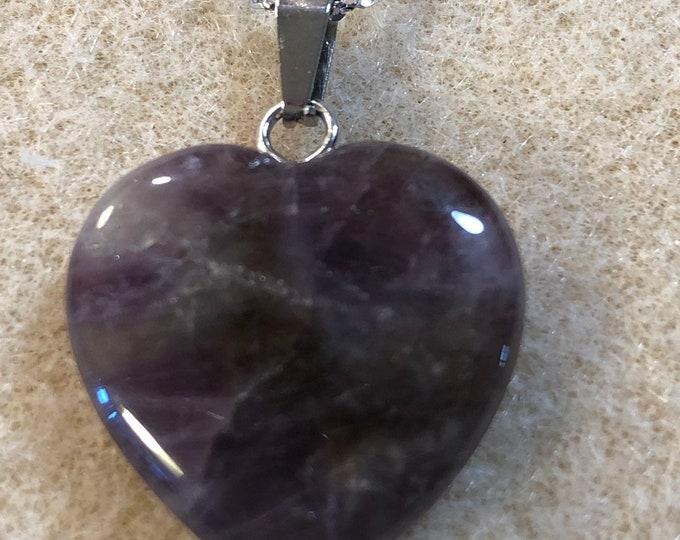 Amethyst Heart Pendant on 9.25 Sterling Silver 17 inchain