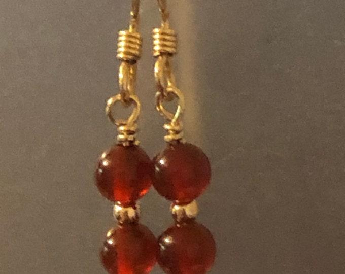 4mm Carnelian Natural gemstone earrings on 14kt gold filled earring wires Spiritual healing