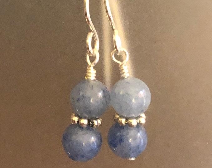 Blue Aventurine earrings on sterling silver earring wires Spiritual healing Beautiful