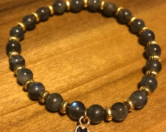 Blue Labradorite 6mm rounds with gold plated rondelle spacers and blue black enamel flower Stretch Charm Bracelet Chatoyant