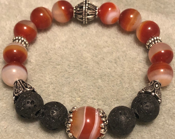 Featured listing image: Red Sardonyx diffuser Mens 10mm Gemstone Stretch Bracelet Banded lava pewter bracelet