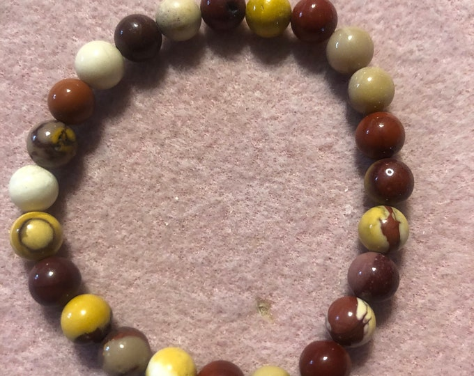 8mm Mookaite Genuine Natural Stretch Bracelet your choice of size handmade
