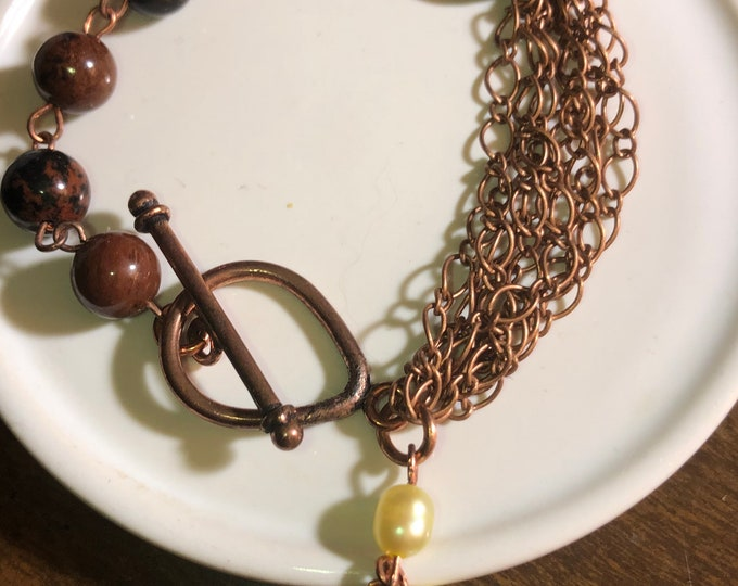 6mm Genuine Mahogany Obsidian, Yellow Freshwater Pearl, Sunstone  Antique Copper Bracelet Christmas Made to order.