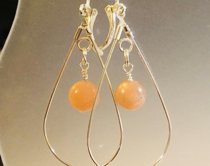 8mm Natural Orange SUNSTONE gemstone earrings on sterling silver Leverback teardrop spiritual healing