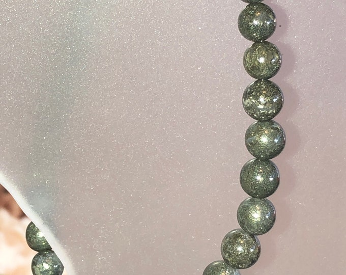 6mm AAA Pyrite in Quartz Genuine Natural Gemstone Stretch Bracelet Healing