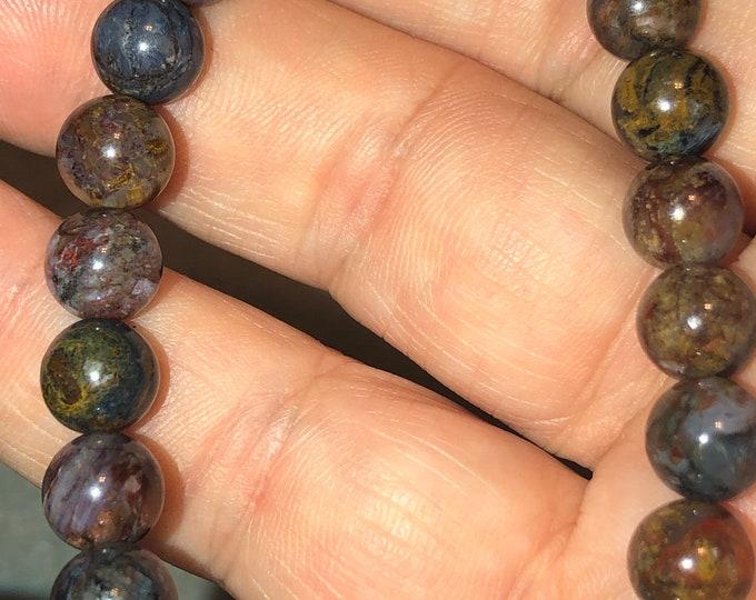 8mm STUNNING Pietersite bracelet unique beads Blue Gold Red Black Unisex-Tigers eye, Hawks Eye, Jasper