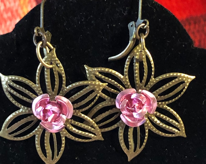 Christmas Poinsettia Filigree Flower Vintage Brass earrings in pink, red, blue choice of color