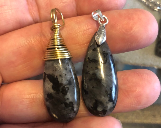 35 x 15mm Larvikite Stone Teardrop Pendant in gold wire wrap or silver bail on 17-19in  braided waxed cord in 6 colors Black Labradorite