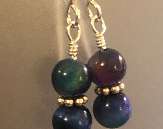 Featured listing image: 6mm Rainbow Tigers Eye earrings on sterling silver earring wires Spiritual healing stunning!!!