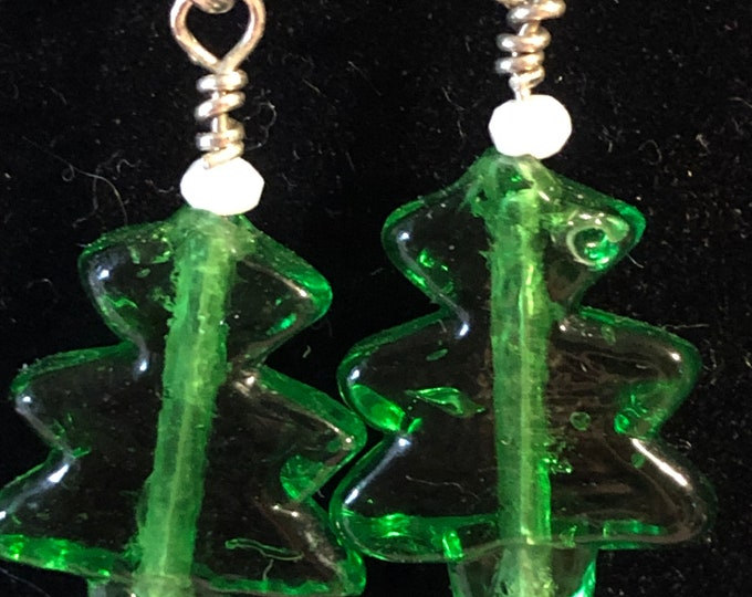 Christmas Tree Glass Earrings with white Crystals on surgical steel post