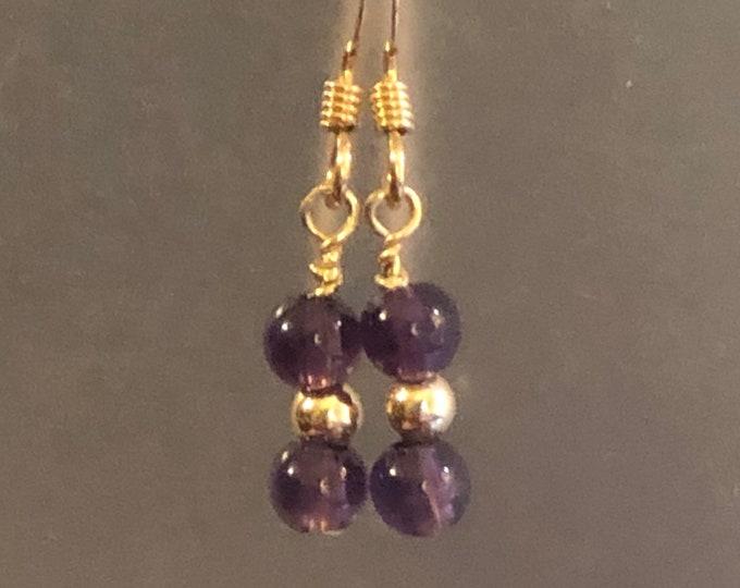4mm purple Amethyst Natural gemstone earrings on 14kt gold filled earring wires Spiritual healing