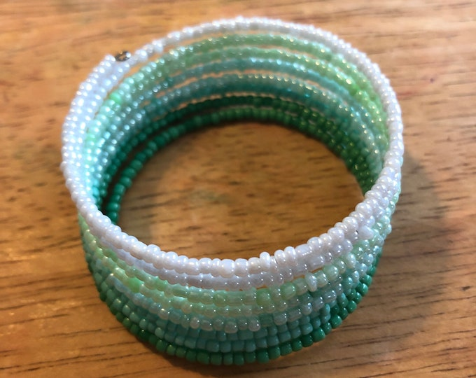 8 band Hombre Green colored seed bead stackable bracelet Memory Wire adjustable Unique, One of a kind, Handcrafted size child to adult
