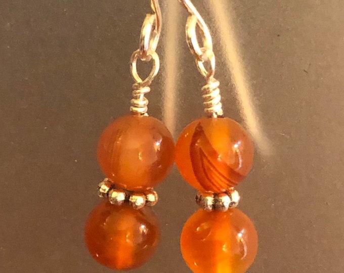 6mm Carnelian Natural gemstone earrings on sterling silver earring wires Spiritual healing