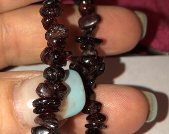 Garnet Natural Gemstone Nuggets  Stretch Bracelet fits your choice of size  *Healing *Mourning *Dreams