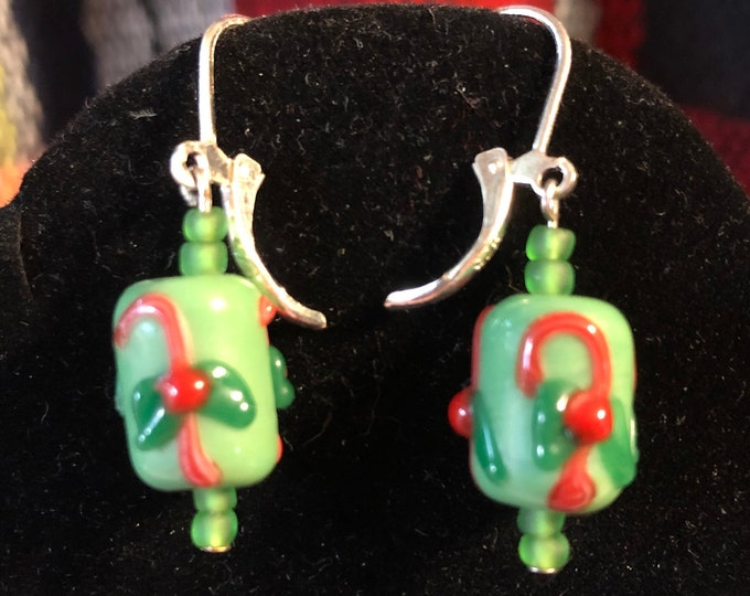 Red Green Lampwork Christmas Candy Cane earrings with on Sterling Silver Leverback