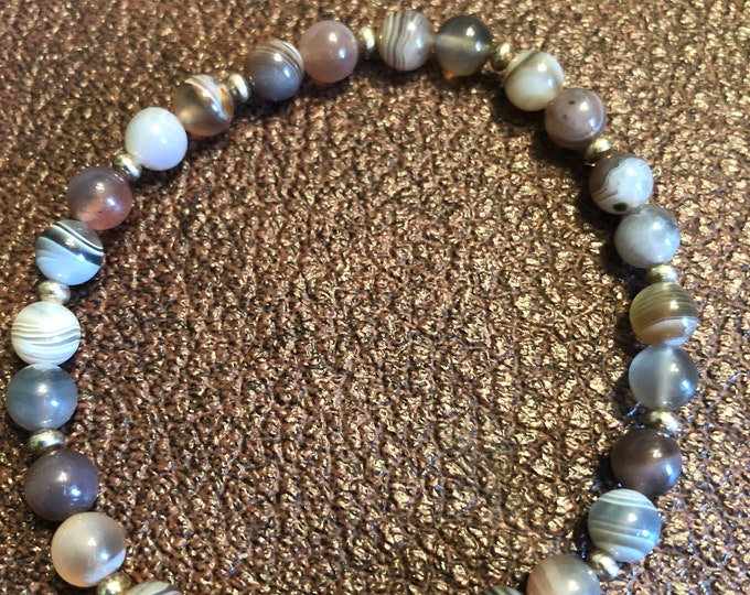 6mm Beautiful Botswana Agate Stretch Bracelet with Sterling Silver rondelle beads mens womens handmade