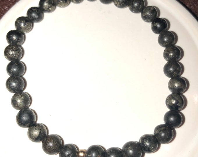 6mm Pyrite in Magnesite Stretch Bracelet Men Woman Therapeutic Healing Healers gold
