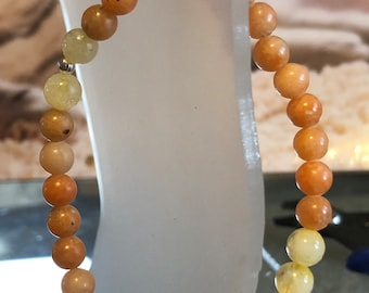 6mm AAA Citrine and Orange Calcite Genuine Natural Gemstone Stretch Bracelet Healing Valentine's Day Gift Stackable gift