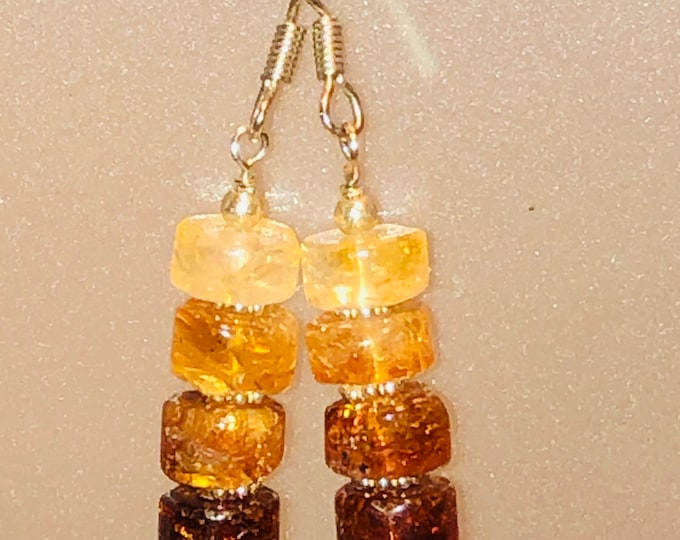 Natural Honey Citrine Gemstone Hombre stack earrings w/ Sterling Silver Daisy spacers and Sterling Fishhooks Precious Stone November