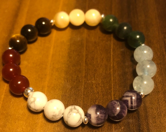 8mm Chakra Bracelet Howlite Amethyst Aqua Marine Jade Honeycomb Calcite Tigers Eye Red Agate Genuine 3mm Sterling Silver Rondelles
