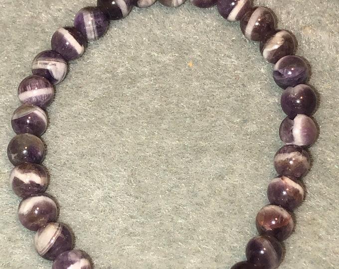 6mm Dream Lace Amethyst Gemstone Stretch Bracelet Healing stunning color Men Women