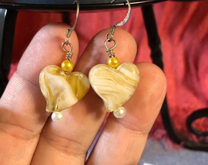 Yellow Glass Hearts with glass pearl accents on surgical steel earring wire