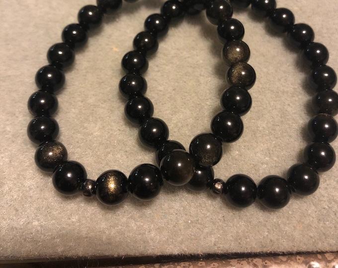 Obsidian 8mm Stretch Bracelet stunning colors and sparkle  mens womens handmade healing Christmas Bracelet