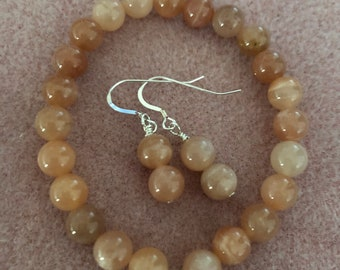 8 mm AAA gem quality Orange Sunstone Stretch Bracelet and Sterling Silver earring set Mother's Day