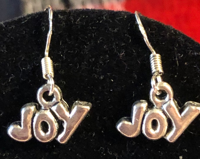 Christmas JOY childs earrings on Sterling Silver earring wire small childs