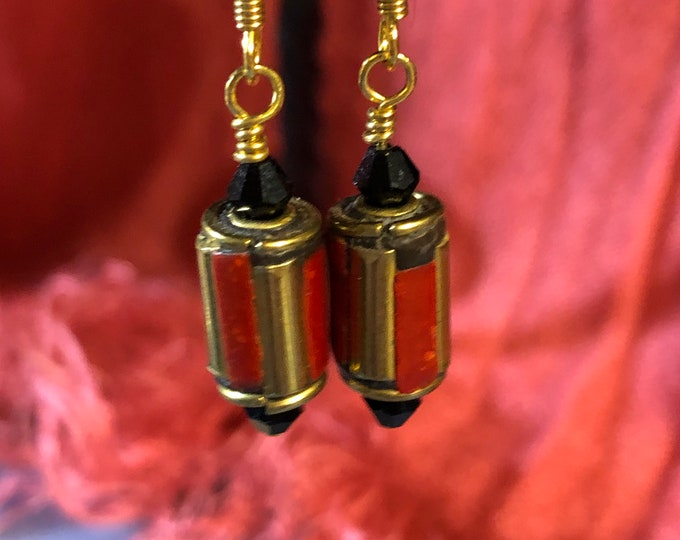 Red, gold tube  earrings with Black 4mm Swarovski crystals gp earring wire Jesse James beads