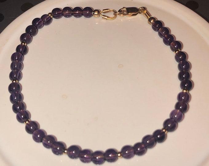 4mm genuine Amethyst grade A Sterling Silver lobster clasp bracelet