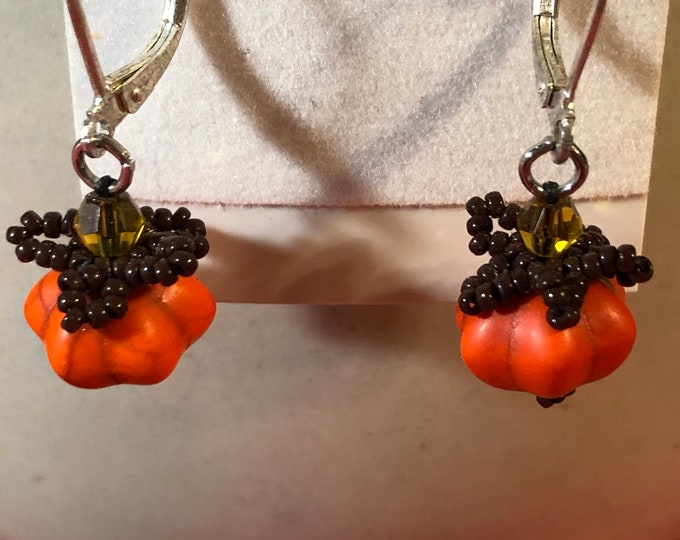 Little 1/2 inch Pumpkin and Topaz Swarovski crystal earrings on Sterling Silver leverbacks